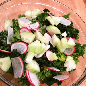 Massaged Kale Salad with Cucumbers and Radishes